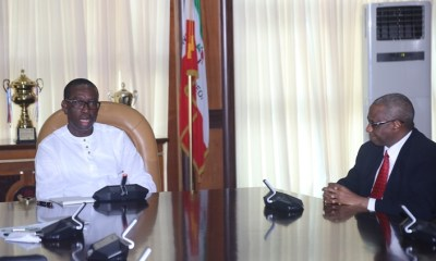 Delta State Governor, Senator Ifeanyi Okowa (left) and Executive Secretary/CEO of the National Health Insurance Scheme (NHIS), Prof. Usman Yusuf, during a courtesy call on the Governor, in Government House Asaba.
