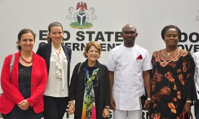 R-L: Attorney General/Commissioner for Justice and Chairman, Edo State Taskforce Against Human Trafficking, Prof. Yinka Omorogbe; representative of Edo State Governor and Chief of Staff, Chief Taiwo Akerele; United Nations (UN) Special Rapporteur, Maria Grazia Giammarinaro; and other members of the UN team: Ms. Alice Dieci and Ms. Federica Donati, at the Government House, in Benin City, Edo State.