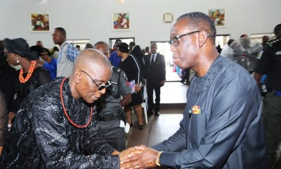 Delta State Governor, Senator Ifeanyi Okowa (right) and Chief Judge of Delta State, Hon. Justice Marshal Umukoro, during the Funeral Mass of Late Chief Lizzy Umukoro, at Emmanuel the Saviour Catholic Church, High Court Road Asaba.