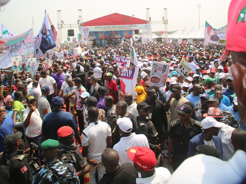 Across section of Peoples Democratic Party Supporters at the Campaign Flag Off at Oghara