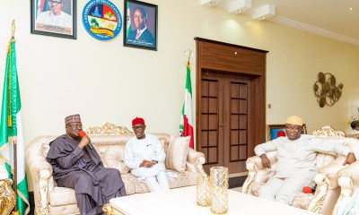 Delta State Governor, Senator Ifeanyi okowa (middle); Nigeria Senate President, Senator Ahmad Lawan (left) and the Governor of Ekiti State, Kayode Fayemi, during a visit to Governor Okowa on his Birthday, in Government House Asaba.