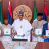 President Buhari with L-R: National Security Adviser Babagana Monguno, Vice President Yemi Osinbajo, Deputy Senate President Ovie Omo Agege and Speaker Femi Gbajabiamila as he launched National Security Road Map in State House on 4th Dec 2019