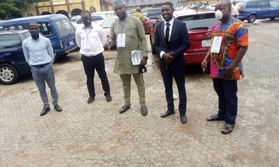 Matthew Edaghese (R) and other members of Edo NBA Task Force on Covid-19