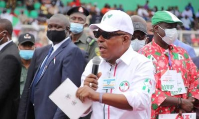 Prince Uche Secondus speaking during the Edo PDP Mega Rally held at Samuel Ogbemudia Stadium on Tuesday, September 15, 2020