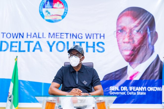 Delta Governor, Senator Dr. Ifeanyi Okowa meeting with Delta Youths at a Town Hall meeting in Warri to address the EndSARS Protest