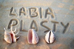 Sea shell in the form of female genitalia, vagina, inscription on the sand labiaplasty.