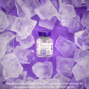 botox vial with ice cubes surrounding it