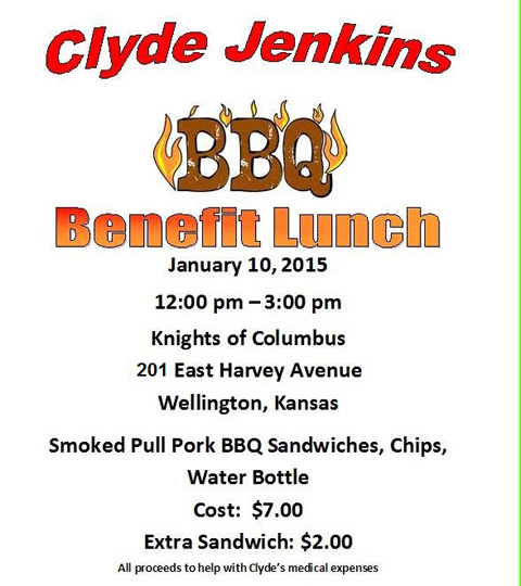 Clyde Jenkins BBQ Benefit Lunch Saturday 12 3 Pm
