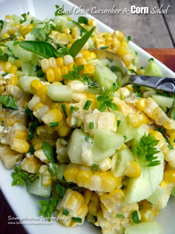 Basil Chive Cucumber & Corn Salad ~ Sumptuous Spoonfuls #cucumber #corn #basil #salad #recipe