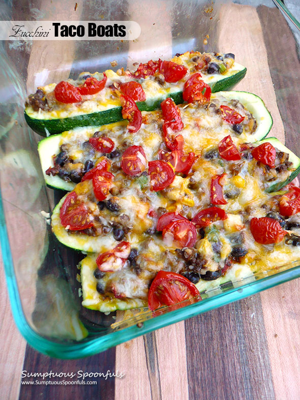 Zucchini Taco Boats ~ Sumptuous Spoonfuls #healthy #Mexican #food #recipe #recipe