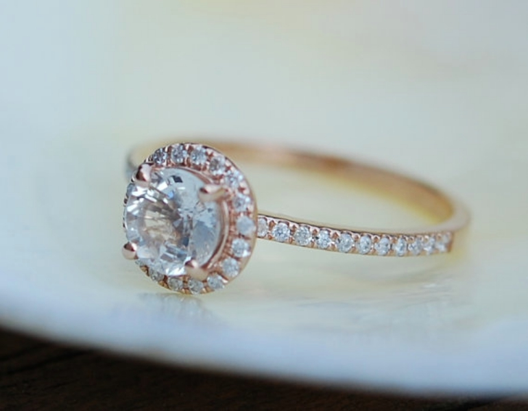 Rose Gold Diamond Ring Engagement Ring With 1 22ct Round White Sapphire
