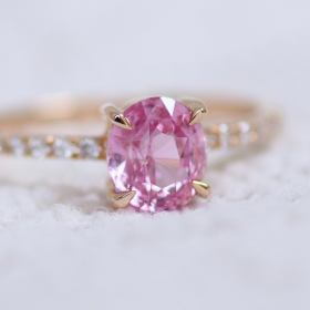 simple padparadscha sapphire engagement ring rose gold