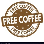 Free coffee sign or stamp on white background, vector illustration