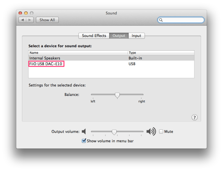 Mac OS X Sound Preferences - FiiO E10K