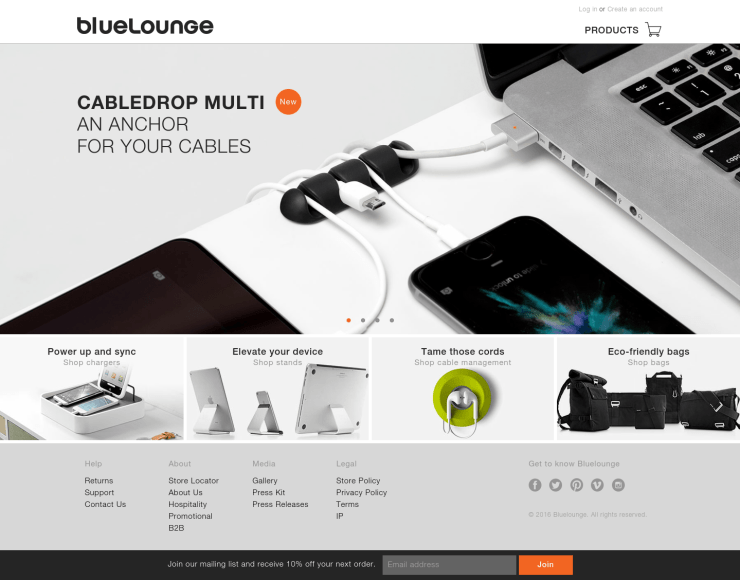 Bluelounge new website with Shopify