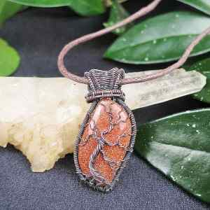 Goldstone-Pendant TreeOfLife Jewelrydesign
