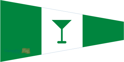 In the Indian Navy, the gin goblet or glass is missing and we merely hoist the Stbd (starboard) pennant, ie, Gin Pennant without the glass.
