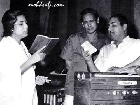 The recording of the song Raat suhaani jaag rahi hai (In the pic: Suman Kalyanpur with Mohammad Rafi and Laxmikant Pyarelal) (Pic courtesy: i.ytimg.com)