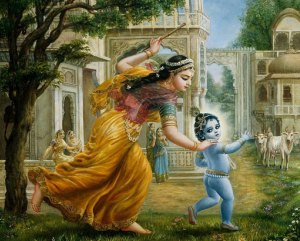 Yashoda, the foster mother of Krishna playing with him (Pic courtesy: www.iskconbangalore.org)