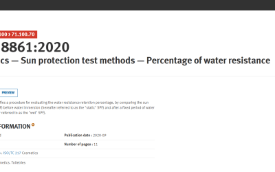 Publication of the new ISO 18861:2020 – Cosmetics – Sun protection test methods – Percentage of water resistance