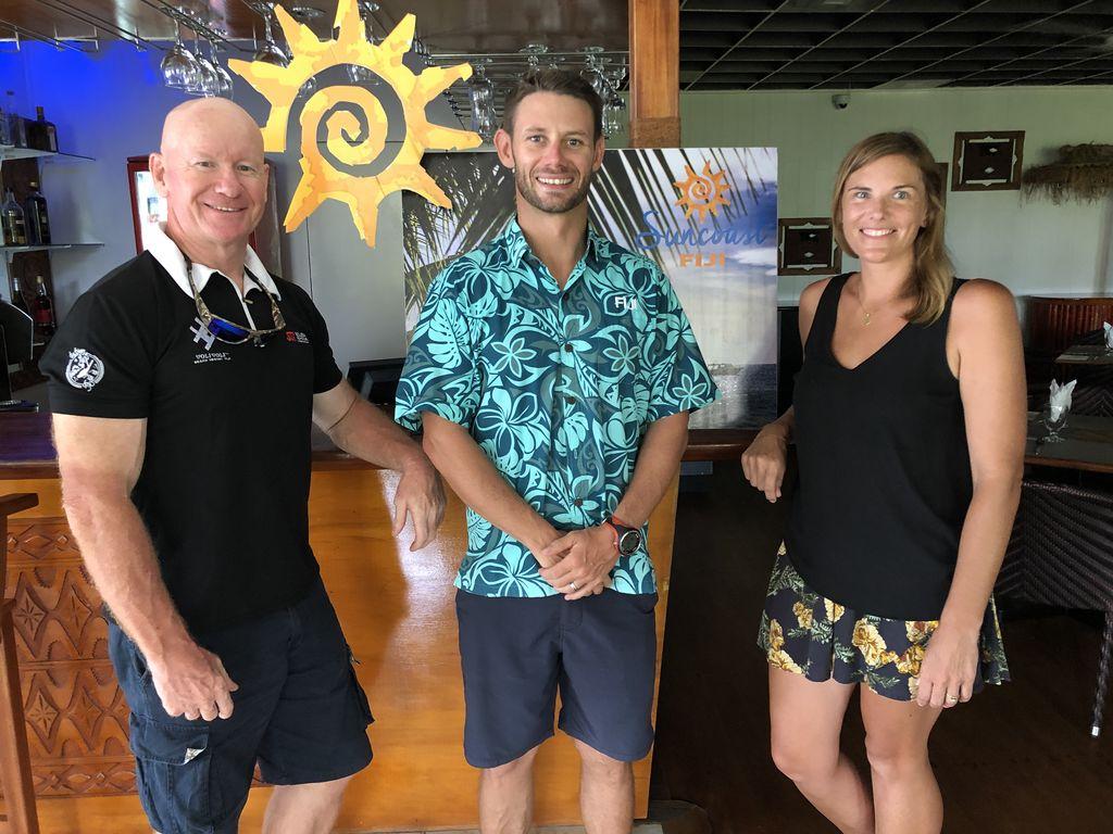 Tourism Suncoast Secretary Simon Doughty, Chairman Nick Darling and  Suncoast Ocean Swim 19 Coordinator Jodie Cunningham