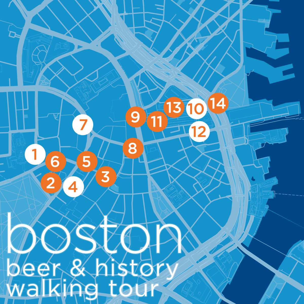 Boston Map Historical Sites.Boston Low Key Watering Holes History Tour Map Sun Country View