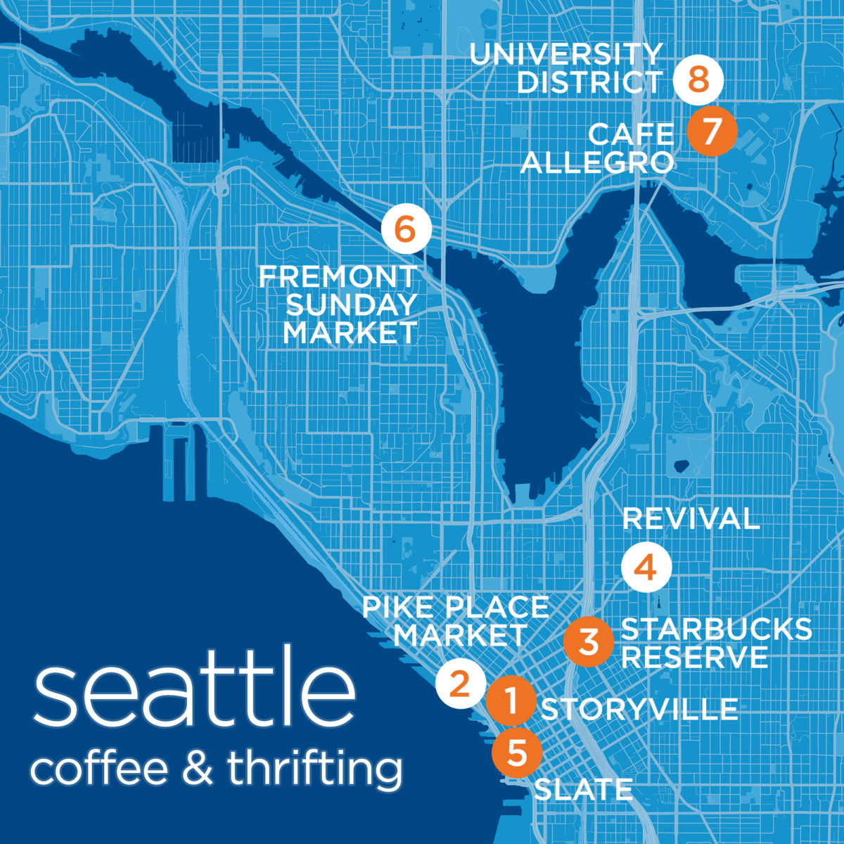 Seattle Coffee Shops and Thrifting Tour [MAP]
