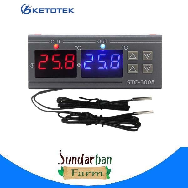 Dual Digital Temperature Controller Two Relay Output Incubator Thermostat Heating Cooling STC-3008 12V 24V 220V