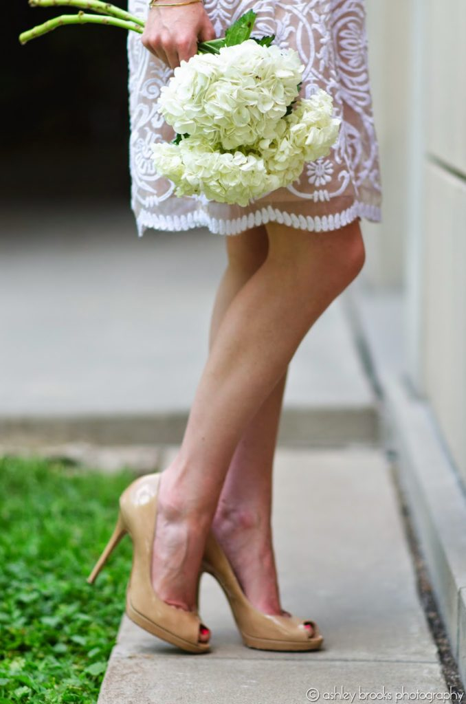 Yoana Baraschi Lace Dress Jimmy Choo Peep Toe Pumps