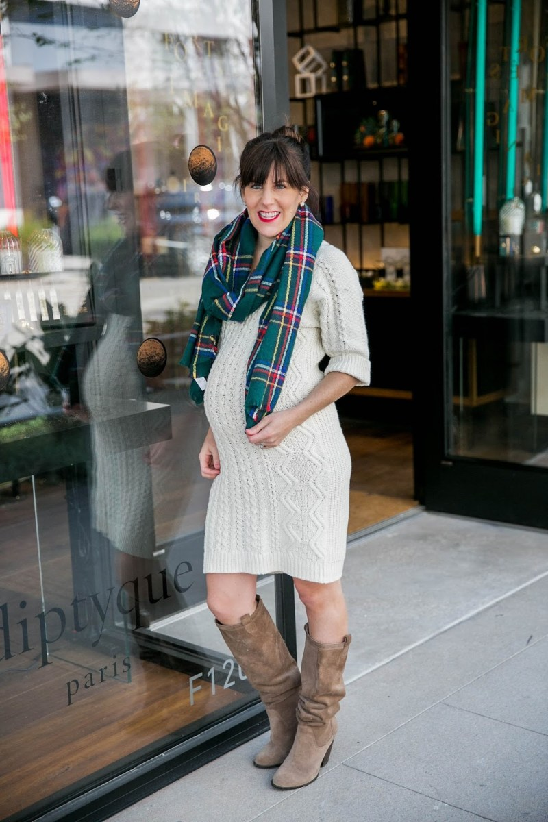 Sweater Dress + Plaid Scarf + Giveaway