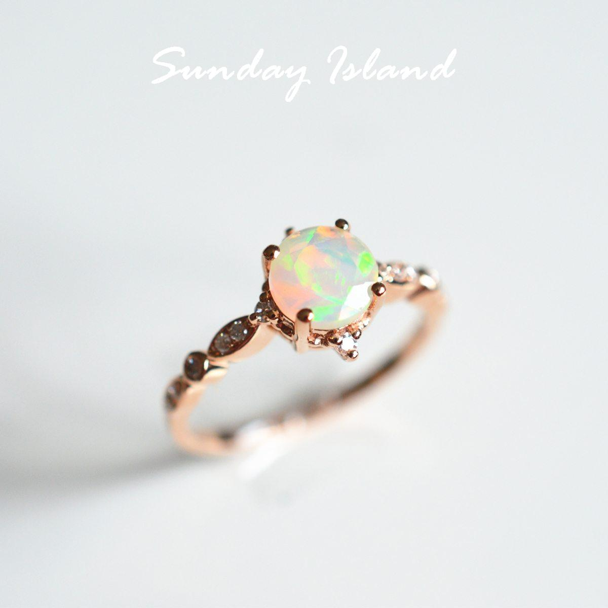 Vintage Inspired Opal Ring Annabelle Sunday Island