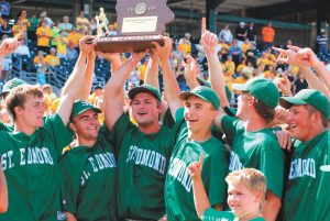 The St. Edmond baseball team celebrates after winning the state championship in 2009.