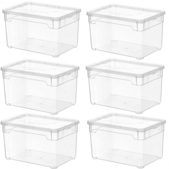 lot de 6 boites de rangement l26xp17 5xh15cm clear box sundis shop