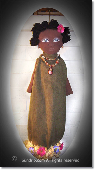 Yasmine African American Plastic Bag Holder Doll