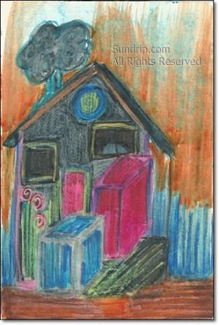 Blue House Orange- available