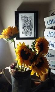 Sunflowers in Tin artwork by Robert