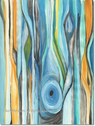 Wood Grain in Blue and Gold - Available