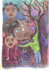 """Side 2 of the painting """"Strange Sisters"""""""