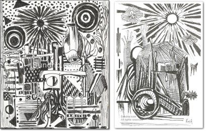 Lot of 2 black and white line art
