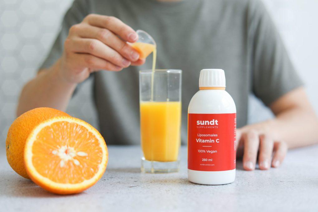 Imagem de um suplemento de vitamina C lipossomal.