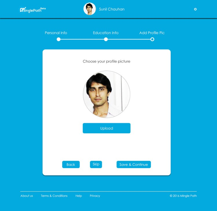 MinglePath Interface of Add Profile Photo Page.