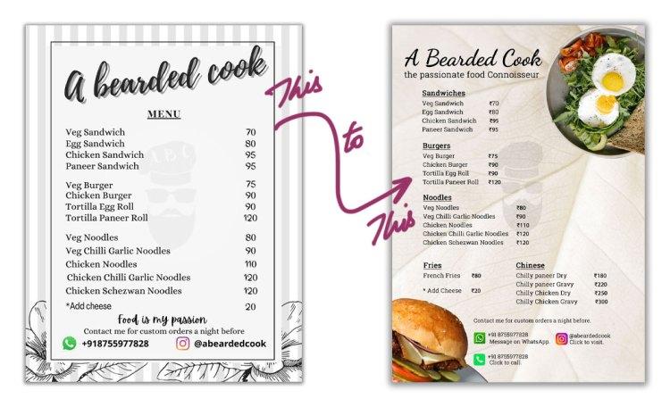 Restaurant Menu Old Design vs New Design Comparison
