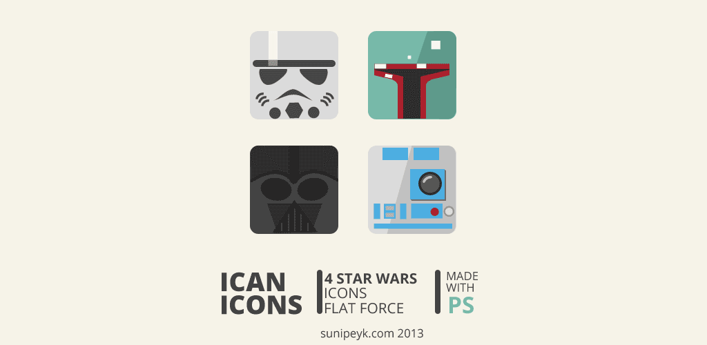 4 starwars flat icons