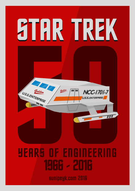 Star Trek 50th anniversary poster with shuttlecraft Galileo