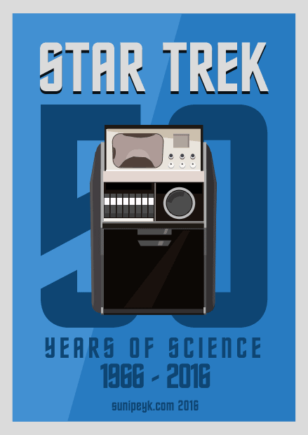 Star Trek 50th Annniversary poster with tricoder of original series