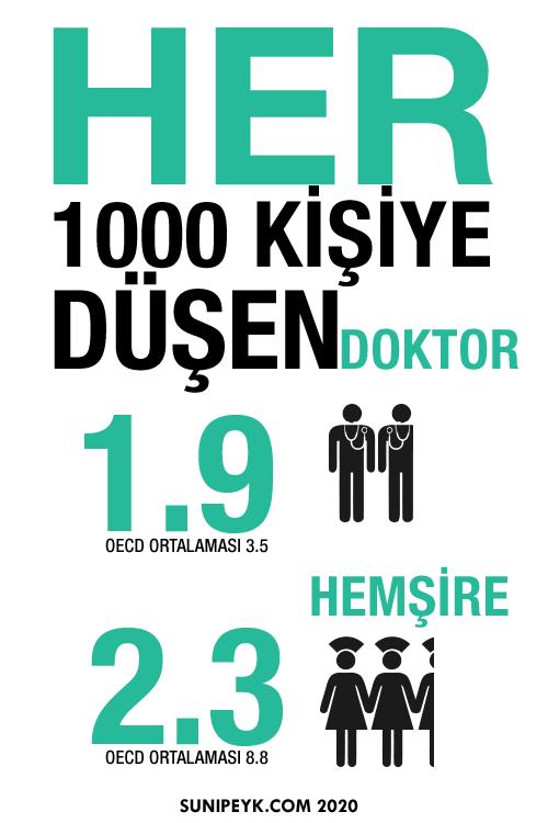 bin kişiye düşen doktor hemşire sayıları