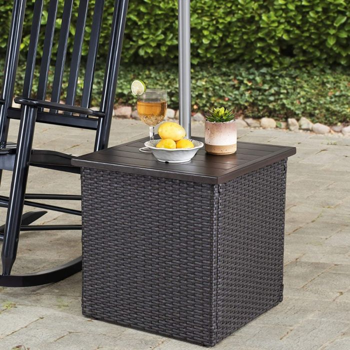 sunjoy combination square wicker outdoor patio umbrella stand side table with umbrella stand brown