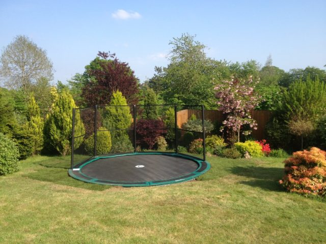 sunken trampoline in ground trampoline