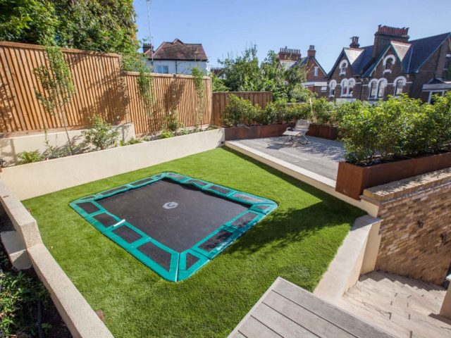 Sunken trampoline in ground trampoline capital play