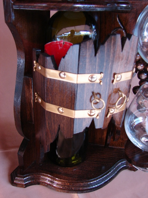 Wooden Bottle and Glass Holder